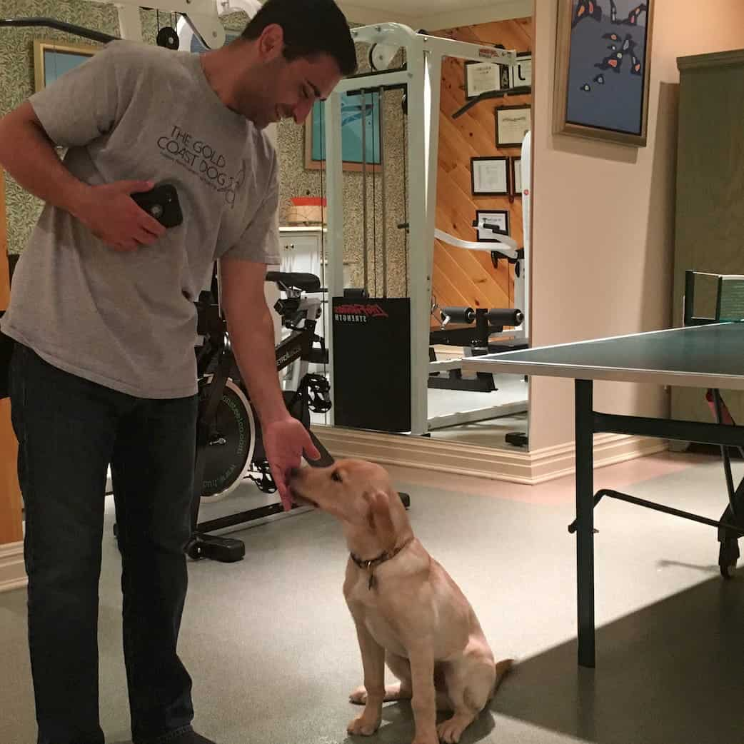 Anthony De Marinis feeds a lab puppy a treat next to a ping-pong table.
